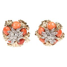 Mid-Century Pair of Gold, Platinum, Coral and Diamond Earclips by David Webb For Sale Platinum Earrings, Coral Earrings, Coral Jewelry, Cluster Earrings, Gold Platinum, Clip On Earrings, 18k Gold, Fine Jewelry, Stud Earrings