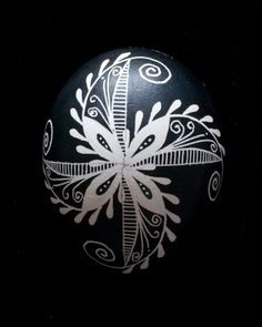 "Pysanka black and white egg; ""Feathered Pinwheel""- this is more like a design I've done"