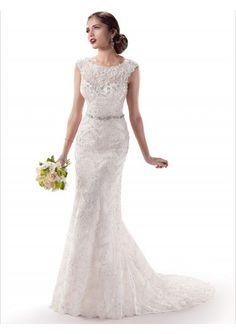 Wedding dress online shop - Lace Straps Jewel Neck Illusion Sweetheart Neckline Slim Column Wedding Gown MS006
