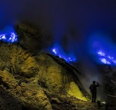 Mt. Ijen crater, sulphur blue fire. East Jawa. Indonesia.