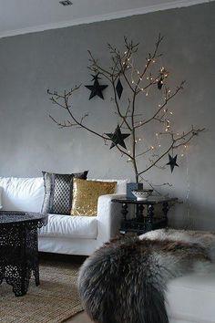 Kersttakken met zwart en verlichting