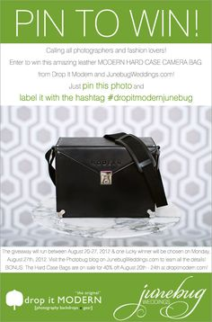 Spread the word! Pin this image with the hashtag #dropitmodernjunebug to be entered to win a Modern Hard Case camera bag from Drop it Modern and JunebugWeddings.com!  #dropitmodernjunebug