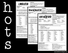 Cheat sheets for teachers -- language to use when creating independent literacy activities/assignments at the Analyze, Evaluate and Create levels (free download at TPT)