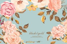 Watercolor Blush Gold Roses Clip Art by Patishop Art on @creativemarket