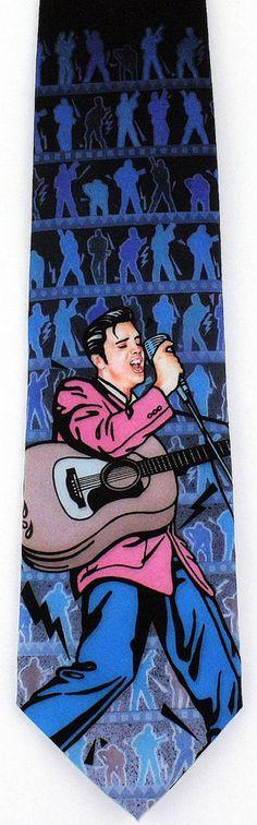 New Elvis Presley King Playing Guitar Mens Necktie Singer Music Blue Neck Tie #RalphMarlin #NeckTie