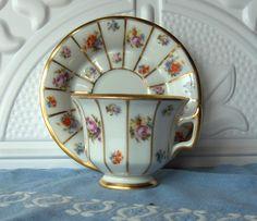 Czechoslovakia porcelain cup saucer Pirkenhammer crossed hammer/banner/crown 1930 by BarberryLane on Etsy