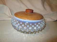 Vintage Fenton Round Powder Puff Box Wood Lid Hobnail Blue Opalescent
