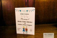 Handmade Order of Services at Josh & Nikki's Wedding