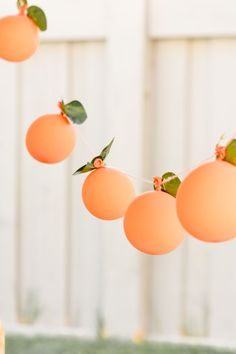 This darling balloon garland was a sinch to DIY! I used twine, peach balloons and faux leaves. Peach Balloon Garland at a Sweet as a Peach Peaches and Cream Birthday Party by Kara's Party Ideas 1st Birthdays, First Birthday Parties, 60th Birthday, Children Birthday Party Ideas, 1st Birthday Themes Girl, Orange Birthday Parties, Baby Girl Birthday Theme, 1st Birthday Cupcakes, Kid Parties