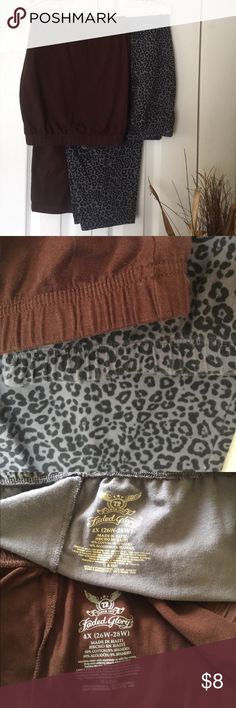 """2 pairs 26W/28W soft pants TShirt soft. Thin elastic band. Inseam approx 25"""" on both. One chocolate brown. The other 2 shades of gray print. Both have signs of wash & wear (a lot in crotch area), but still comfy. Priced accordingly. Faded Glory Pants"""