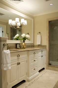 calming neutrals for master bath - SO PRETTY! Bathroom upgrade, or just paint cabinets white