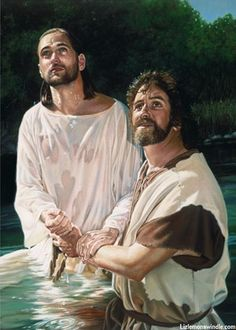 "To Fulfill All Righteousness ~Liz Lemon Swindle | Jesus was baptized by his cousin John. Known as ""John the Baptist."" ""Now when all the people were baptized, Jesus too was baptized. As he was praying, the heaven was opened up, and the holy spirit in bodily form like a dove came down upon him, and a voice came out of heaven: ""You are my Son, the beloved; I have approved you."" Luke 3:21,22"