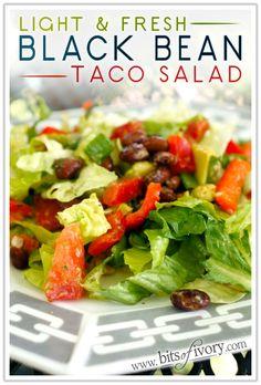 Light and Fresh Black Bean Taco Salad with cilantro and lime   www.bitsofivory.com  #glutenfree #vegetarian