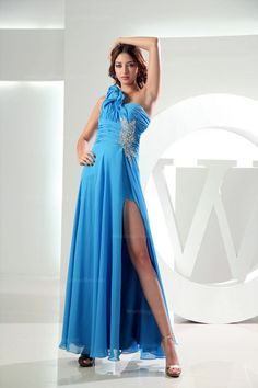 One-shoulder ruched bodice floor length dress with beads and flowers