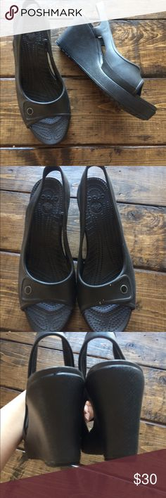 Crocs Rubber Wedge Heel Shoes 10 W Gorgeous GUC Croc wedges. Size 10. Please see photos for heel height CROCS Shoes Wedges