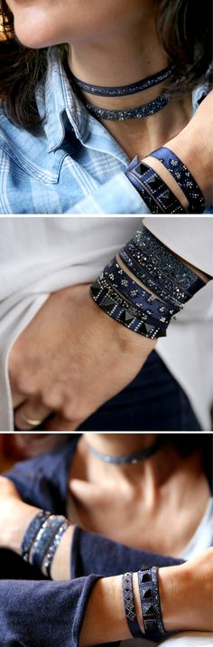 SHOP THE LOOK Mood: Indigo!  Navy never felt so fresh! We've selected some of our favorite new styles from Paris that look amazing as a full stack, but also are super-chic individual additions to your Paris Bracelet collection.  Designed to be the perfect accessory to dress up any denim look, or add moody blues to any other color combination - perfect for all 4 seasons, really!