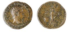 "Rome 54-68 AD, AE As, Nero, Rome Av. Head clockwise, Rev. Victoria flies left with shield ""SPOR"", B. M. C. 381, a little corroded, ss."