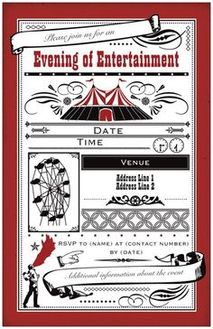 Vintage Red Flat Invitations And Announcements, Carnival Flat Invitations And Announcements | Vistaprint