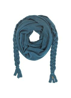 The Wool Braided Scarf by Patrizia Pepe is crafted in a wool and alpaca blend featuring triangle design, long braided ends and a signature charm on end. Gifts For My Girlfriend, Braided Scarf, Knit Wrap, Designer Scarves, Gowns Of Elegance, Patrizia Pepe, Blue Wool, Long Scarf, Silk Scarves