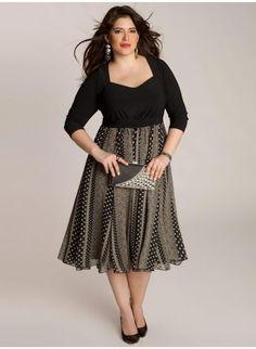 Love! Plus Size Embellished Skater Dress with Cold Shoulder ...
