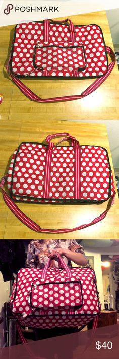 Huge polka dot TSA convertible carry-on duffel bag Awesome TSA compliant retro Rockabilly pink convertible carry-on duffle bag made by Sydney To Go by Sydney Love.  Gently used only one time when my suitcase was too heavy to check :P!  This is super roomy and would make an excellent weekender tote.  Features 1 large duffle pouch w. 1 front zip pocket w. additional zip pocket attached.  Only defects are some slight markings on the bottom from travel-use.  Sold as is & offers are always…