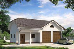 Projekt domu Pogodny 137,62 m2 - koszt budowy - EXTRADOM Bungalow House Design, Bungalow House Plans, Country Modern Home, Facade House, Home Design Plans, Wood Construction, Planer, Shed, Outdoor Structures