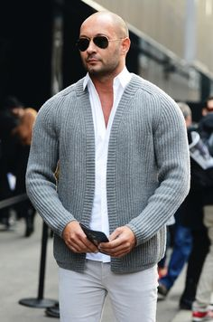 Milan V in a buttonless ribbed cardigan before the Dolce & Gabbana Show - Milan Men's Fashion Week 2013