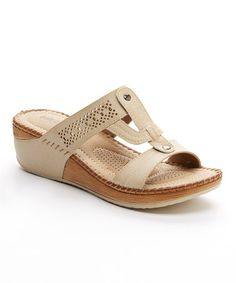 Look what I found on #zulily! Beige Slide-Along Sandal by Soft Comfort #zulilyfinds