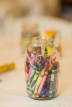 Cover a table in craft paper and put crayons in mason jars for kids table at the reception Reception Table, Wedding Reception, Reception Ideas, Reception Games, Wedding Tables, Party Wedding, Wedding With Kids, Our Wedding, Dream Wedding