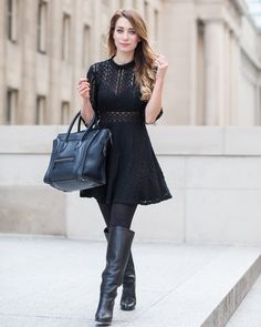 celine luggage tote black crochet dress outfit ootd