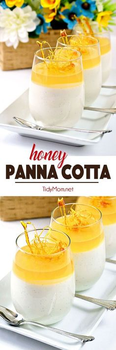 "Honey Panna Cotta looks like a fancy-schmancy dessert, but actually, it only takes a few minutes to prepare and the rest of the time, the fridge does all the work for you, making it a great ""make ahead"" dessert for a party table, and with it's simple, not too sweet flavor, it would be the perfect ending to a heavy meal. Get this HONEY PANNA COTTA recipe at http://TidyMom.net"