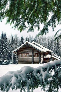 Could be a cabin from the series Supernatural or Breaking Bad...Either way, I love the snow.