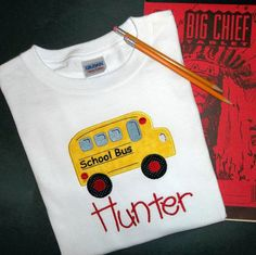 School Bus Applique T Shirt Monogram by Blumers Embroidery on Etsy www.Etsy.com/shop/BlumersEmbroidery