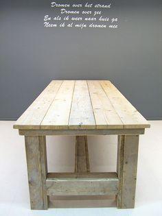 NIEUW Kloostertafel van steigerhout (oud steigerhout) (252013KLTO)   Tafels van steigerhout   JORG`S Houten Meubelen