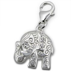 Cute Elephant Real Sterling Silver Clip On Charm