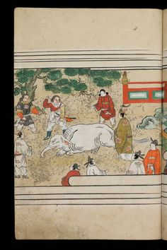 Japenese manuscript representing the Life of Buddha (Shaka no Honji). It's a Nara picture book. A white elefant has been attacked. An red ogre want to hit him again in spite of the aristocrats. #Japan #Manuscript #picturebook #buddha #white #elefant #red #kimono #ogre #demon