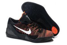 Nike Zoom Kobe IX 9 Elite Low-top Black with Orange and White Discount Training Shoes