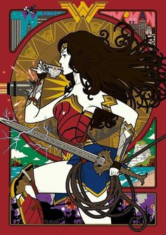 armlet art nouveau bare shoulders blocking blue skirt bracer breastplate breasts brown hair cup curly hair dc comics electricity flat color from side greaves highres holding holding weapon knee pads lasso lips long hair nakamura yuusuke pinky out she Wonder Woman Kunst, Wonder Woman Art, Wonder Woman Cosplay, Wonder Women, Comic Book Characters, Comic Books Art, Comic Art, Hq Marvel, Marvel Dc Comics