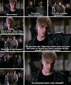 "One of the best moments of the show.  And then later when Spike just gives up and hits Xander, get's zapped and says, ""worth it."""