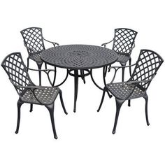 Crosley Sedona 48 in. 5 Piece Cast Aluminum Outdoor Dining Set with High Back Arm Chairs by Modern Marketing Concepts Inc. $799.99. Every patio needs a good set of furniture. Specifically, the Crosley Sedona 48 in. 5 Piece Cast Aluminum Outdoor Dining Set with High Back Arm Chairs is the set for you. This durable cast aluminum table is finely constructed for years of use, with adjustable levelers on the legs for convenient customization. The chairs are exceptionally comfortabl...
