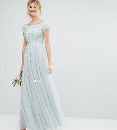 Maya Tall Bardot Maxi Dress With Delicate Sequin And Tulle Skirt - Gre