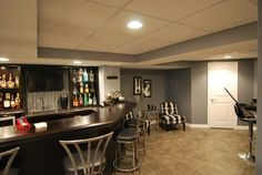 Gray Basement Design   Save to Ideabook Email Photo