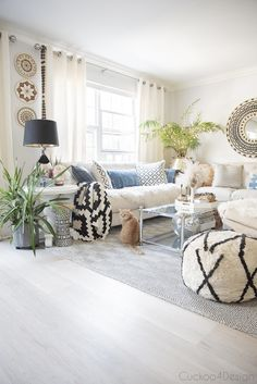 my yearly spring home tour with boho touches wood tones blue accents and added black and white patterns Black And Cream Living Room, Cream Living Rooms, Living Room Green, Vinyl Plank Flooring, Vinyl Planks, Wood Vinyl, Beach Living Room, Living Room Decor, Aztec Patterns