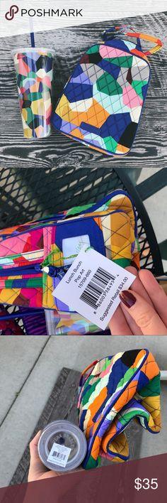 Vera Bradley Bundle 💙❤️💜💛 Lunch Bunch & cup! Both new :-) Vera Bradley Bags