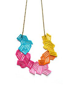 Neon Leather Necklace by Christina Anton (Boo and Boo Factory on Etsy)
