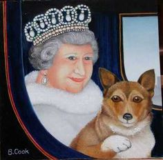 Beryl Cook The Royal Couple 2002 We received an acknowledgement from Buckingham Palace that the Queen had seen and appreciated the portrait, we don't know what the Corgi thought. Caricature, Beryl Cook, English Artists, British Artists, Illustration, Whimsical Art, Pictures To Paint, Folk Art, Royalty