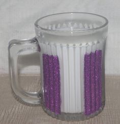Glass Candle Mug with Purple Glitter Purple by DancingWindDesigns