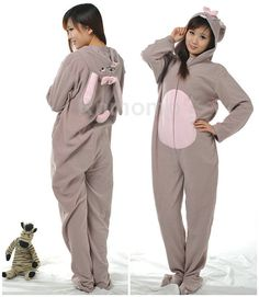 Adult Footie Pajamas Adult Footed Pajamas for Women Men Hooded Footed  Pajamas Unisex Fleece Pajamas Lovely Rabbit Cosplay Sleepwear 6e9d2085a