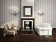 Elegant luxury striped living room with fireplace and sofa