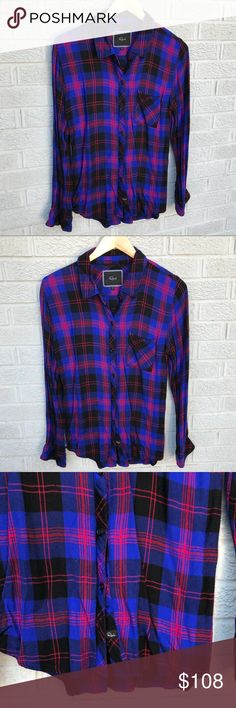 """Rails Hunter Plaid Button Down Shirt So soft!! Rails Hunter Plaid Button Down Shirt in Indigo blue, red & Black! Buttery-soft fabric & great vibrant plaid relaxed Button-Front shirt perfect for layering over & under other pieces all year round! Front button closure! Spread collar. Long sleeves with single-Button cuffs & single chest patch pocket. Curved hemline! Size Small. 100% Rayon. Size Small. 18.5"""" across the chest & 27.5"""" long. Excellent used condition!! AS112817 Rails Tops Button Down…"""